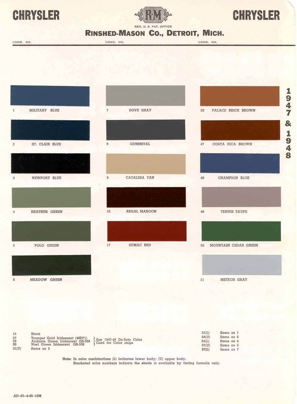 vintage chrysler dodge plymouth colors