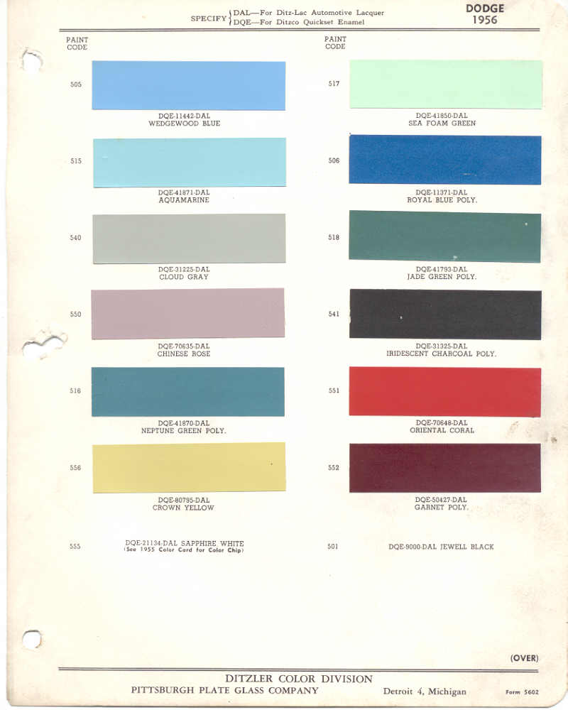 Vintage chrysler dodge plymouth colors vintage paint 1956 dodge nvjuhfo Images