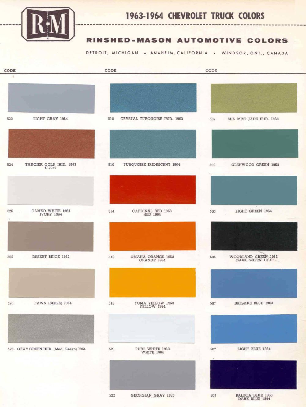 Vintage Oldsmobile Colors Paint 1964 Chevy Truck 1963 Chevrolet Trucks Click To Enlarge