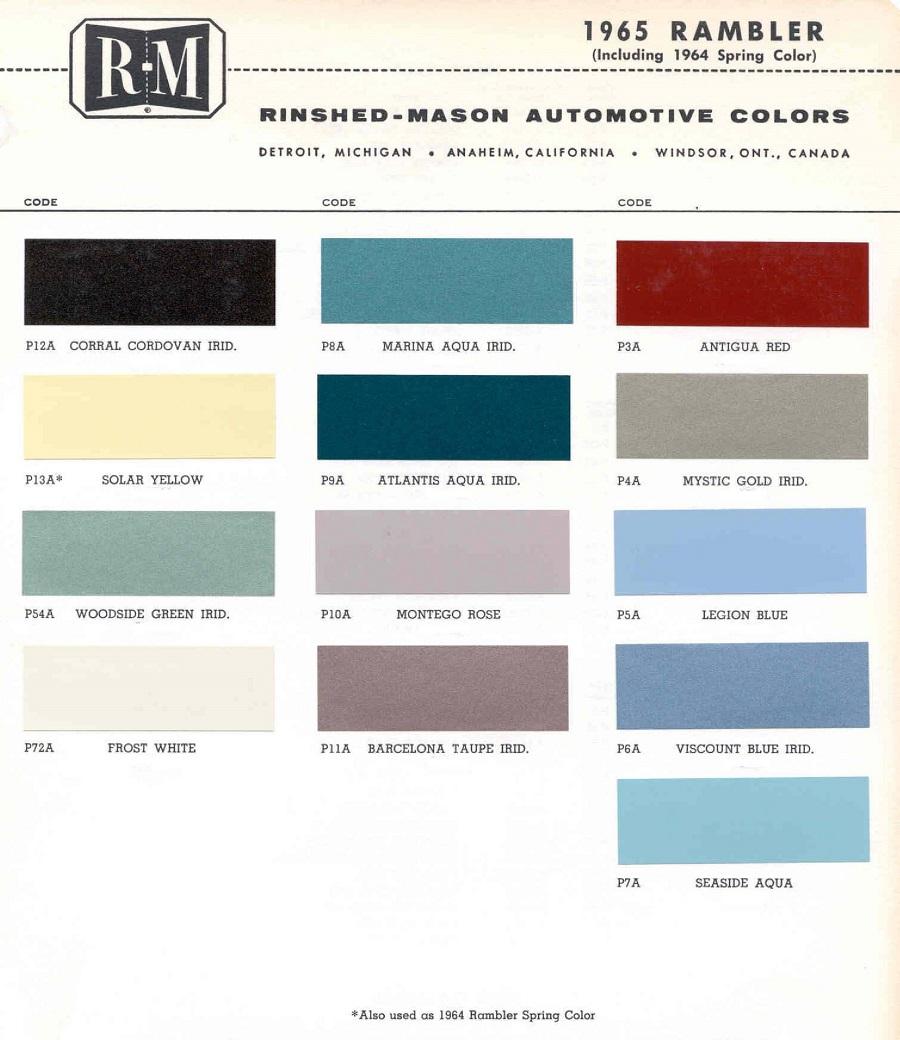 Vintage Rambler Paint Colors 1964 Dodge Color Chips Click To Enlarge