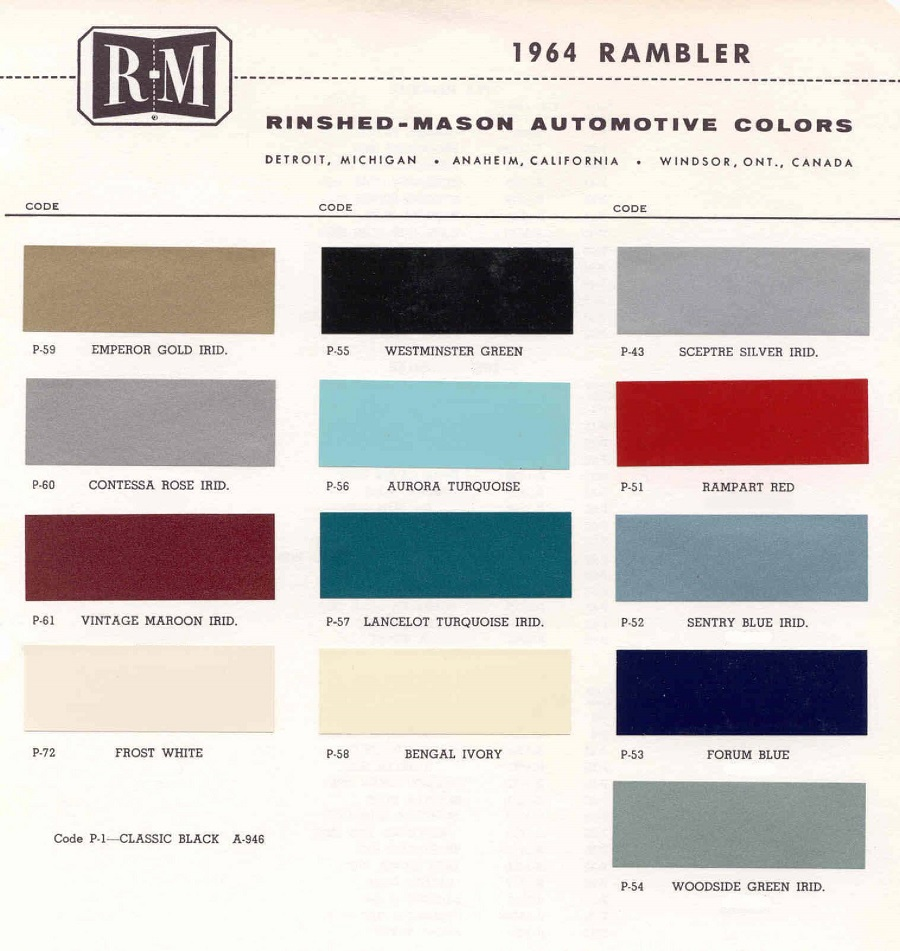 Vintage Rambler Paint Colors 1964 Chevy Truck Click To Enlarge